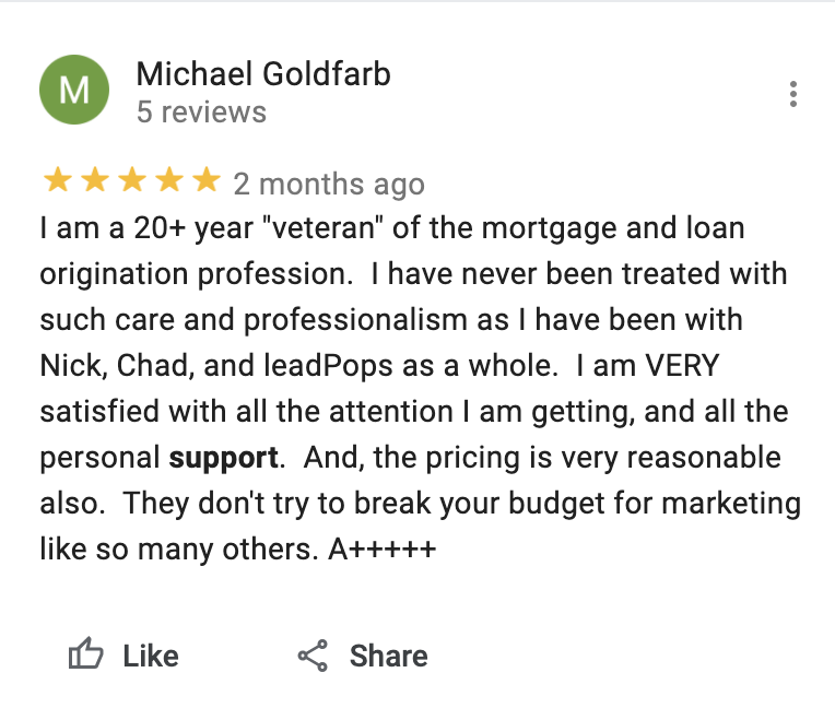 leadPops Customer Support Google Review 2